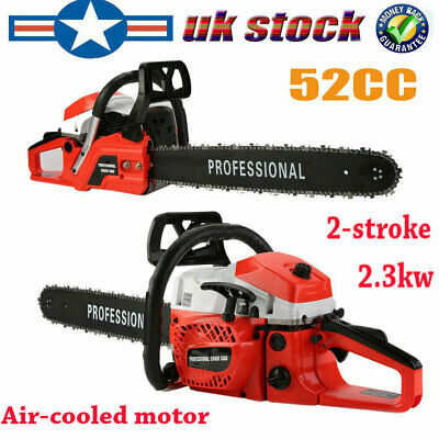 "Heavy Duty 20"" 52cc Petrol Chainsaw Saw Cutter W/ Wrench 2.3kw Two-Stroke UK"