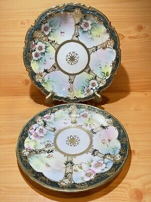 """Nippon Hand Painted Antique Porcelain Pink Floral Gold Moriage Plate Japan 10"""""""