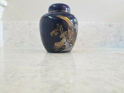 Japanese Tea Caddy Jar With Lid Asian, Vintage