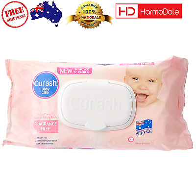 Curash Fragrance Free Baby Wipes 8X80PK  Unscented