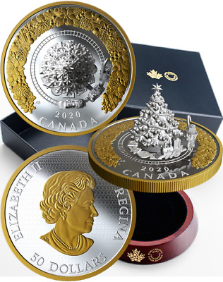 2020 Christmas Train Tree $50 5OZ Pure Silver Proof Coin Canada, Mintage 1000