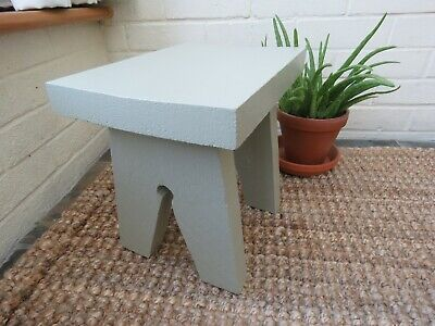 Small stool / side table / cracket made from chunky scaffold board - French Gray