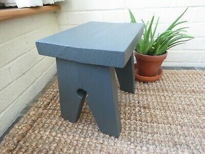 Small stool / side table / cracket made from chunky scaffold board - Dark Grey