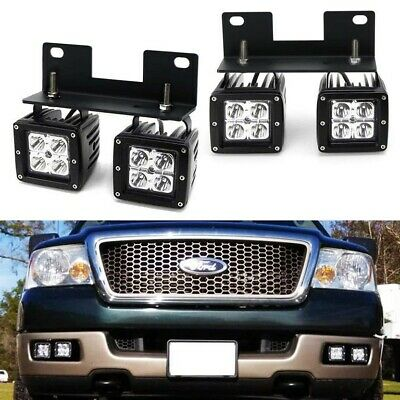 Raptor Style Dual CREE LED Pods w/Foglamp Bracket/Wiring For 04-06 Ford F150