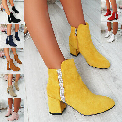 Womens Ladies Studded Ankle Boots Side Zip Mid Block Heel Party Shoes Size