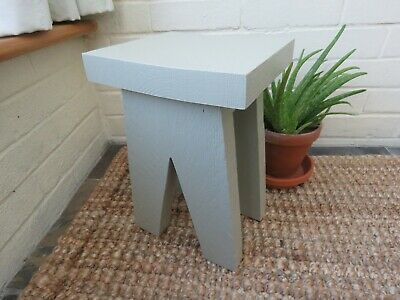 Small side table / milking stool made from chunky scaffold board - French Gray