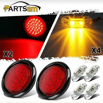 2pc 4 Inch Round 30 LED Reverse Back Up Tail Light + 4x Side Marker for Trucks