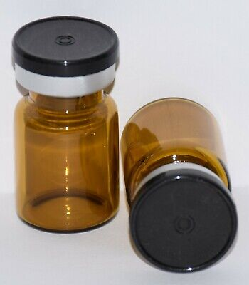 USP 5 mL Amber Sterile Vial With Any Color Plain Flip Cap Seal Qty. 3