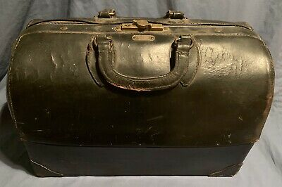 Emdee  By Schell Doctors Dr Medical Bag Black Leather Antique Hospital Quack