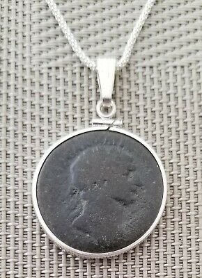 Authentic Ancient Roman Large Bronze Coin of Emperor Trajan 925 Silver Necklace
