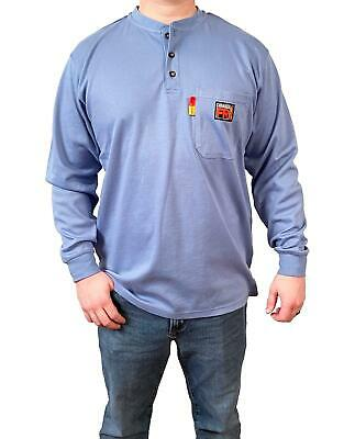 New Comeaux FR Work Blue Henley Welding Flame Resistant Long Sleeve T Shirt HRC2