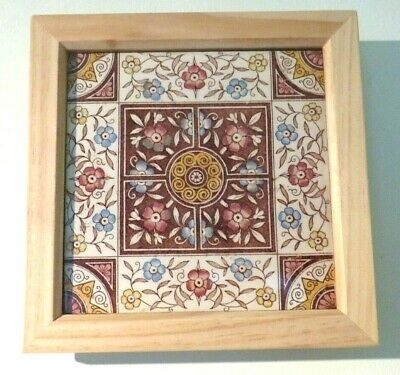 Framed Antique Original Victorian Sherwin Cotton Bootes Aesthetic Movement Tile