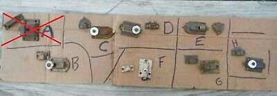 Choose Pick ONE ~ Vintage Iron Cupboard Cabinet door Latch assembly Few Embossed