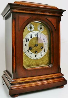 Antique Junghans 8 Day Carved Mahogany Westminster Chime Musical Bracket Clock