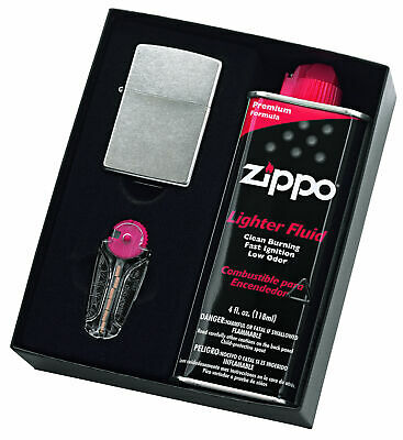 Zippo 207 Regular Street Chrome Lighter With 125Ml Fluid & Flints Gift Boxed