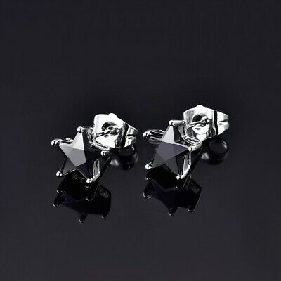 8mm Chic Ladies Women Black CZ Star Stud Earrings 18k White Gold Filled Jewelry