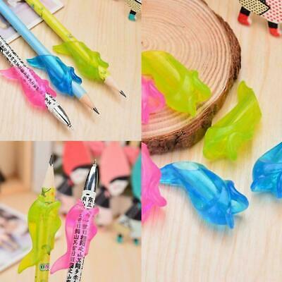 3x Student Fish Pencil Pen Grip Silicone Writing Holder Posture Tool Correc S6Z1