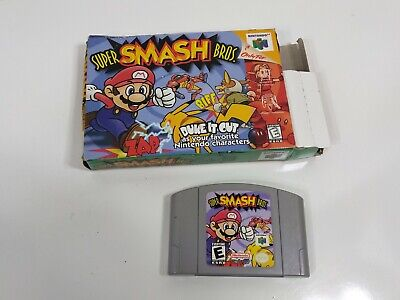 authentic Super Smash Bros.  Nintendo 64 1999 with cardboard box tested working