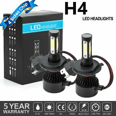 4-Sides CREE H4 9003 HB2 LED Headlight Kit Bulbs Hi/Lo Beam 2600W 375000LM 6500K