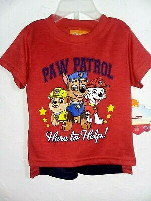 """Paw Patrol -""""18 Months"""" Red/Navy-2Pc Premium Outfit Graphic Top & Shorts"""