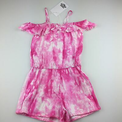 Girls size 3, Piping Hot, pink tie dye off-shoulder playsuit, RRP $20, NEW
