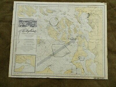 VINTAGE,1963,Washington  San Juan Channel  Nautical Chart/Map &SALES BROCHURE