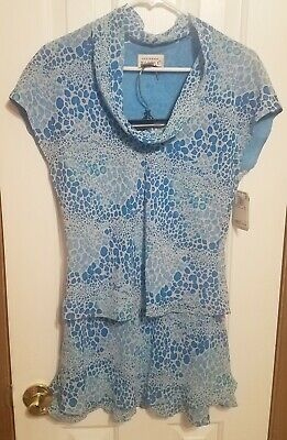 Adrianna Papell Womens Blue Size 10 Skirt Silk Two Piece Floral Scoop Neck NWT