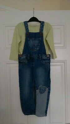 Girls Next Long Sleeve Top and Nutmeg dungarees 2-3 Years