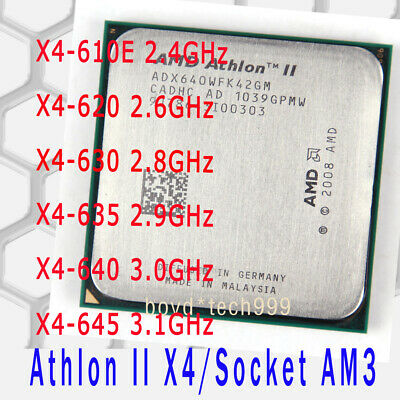 AMD Athlon II X4 610E X4 620 X4 630 X4 635 X4 640 645 Socket AM3 CPU Processor
