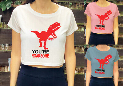 Dinosaur You Are Roarsome Print  Trendy Kids Girls Womens Crop Top