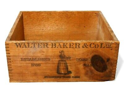 Walter Baker & Co Ltd Dorchester Ma Early 20Th C Vint Breakfast Cocoa Wood Box