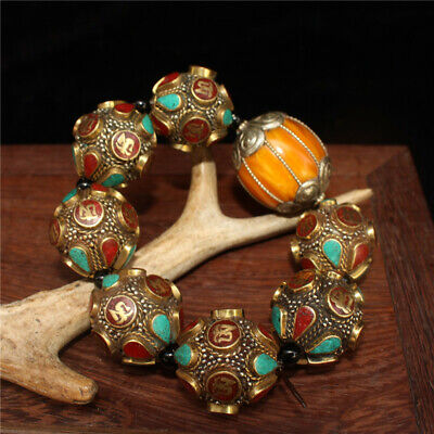 """4.72"""" Chinese Exquisite pure copper Turquoise Beeswax Handmade beads Bracelet"""