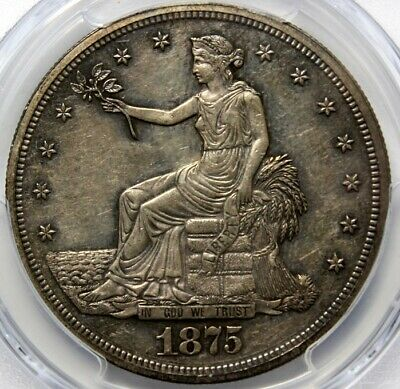 1875 T $1, TRADE SILVER DOLLAR,  PCGS PR55, Gold Seal, Toning on Both Sides