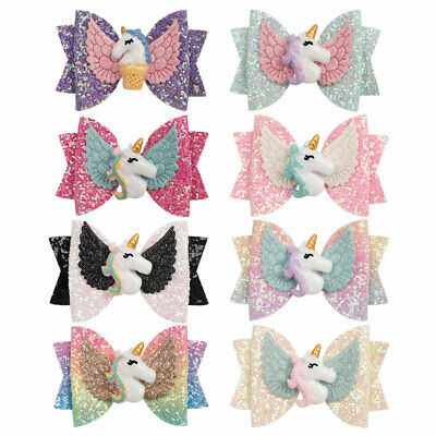 1 PC Girls Unicorn Hair Clips Glitter Bows With Clip 3'' Bow Barrettes Hairpins