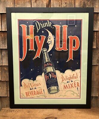 RARE Vintage 30s Drink HY-UP Beverage Soda Pop Country Store Moon Bottle Sign