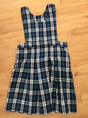 Girls Blue Green Tartan Pinafore Dress School Uniform Size 12