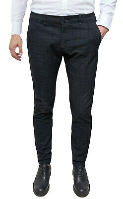 Men's Trousers Diamond Slim Fit Check Black Prince of Wales from 44 a 54