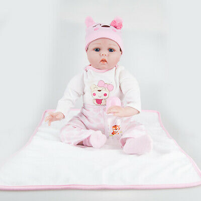 "22"" Full Body Reborn Baby Doll Realistic Silicone Vinyl Girl Gift Anatomically"