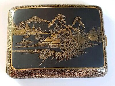 Fine Japanese Komai Style Iron Gold Inlay Cigarette Case
