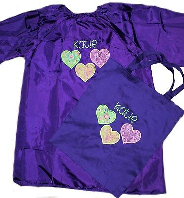 Personalised Art Smock  / Paint Shirt and Library Bag - Hearts - First name FREE