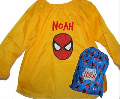 Personalised Art Smock/Paint Shirt and Library Bag - Spiderman  First name FREE