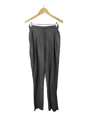 ATELIER15 Pants - 1980s Vintage Grey 100% Leather Pleated High Waisted Pockets 8