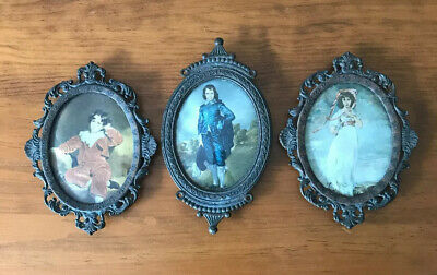 3 Vintage Silk Wall Hanging Pictures In Brass Frames Curved Glass Made In Italy