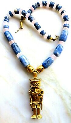 Necklace Aztec Inspired Ancient Image Gilt Pendant With Natural Stone Beads Blue