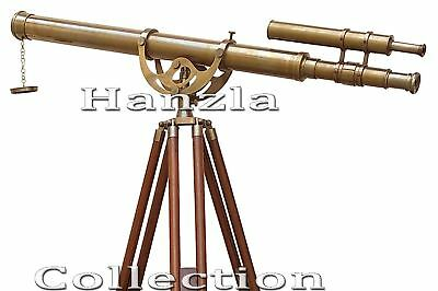Maritime Brass Telescope Antique Double Barrel Master Harbour Adjustable Tripod
