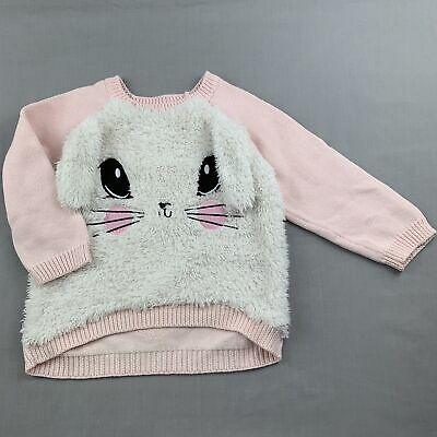 Girls size 1, Target, pink knitted cotton novelty sweater, rabbit, GUC