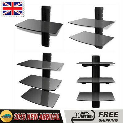 1/2/3 Tier Tempered glass Floating Shelf Glass DVD Player Game Console Sky Box