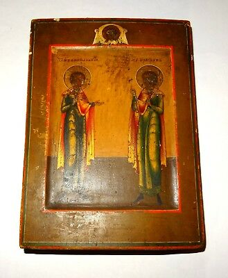Icon Russian Painted Tempera on Wood - 19° Century - Russian Painted Icon