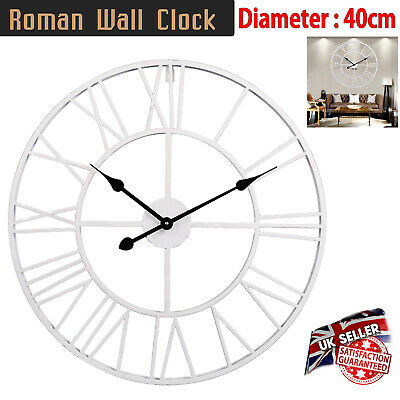 Large Traditional Mechanical Style Mdf Wall Clock Roman Numerals Round Open Face