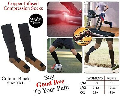 2x Copper Infused Compression Socks Varicose Stocking High Knee Relief Black